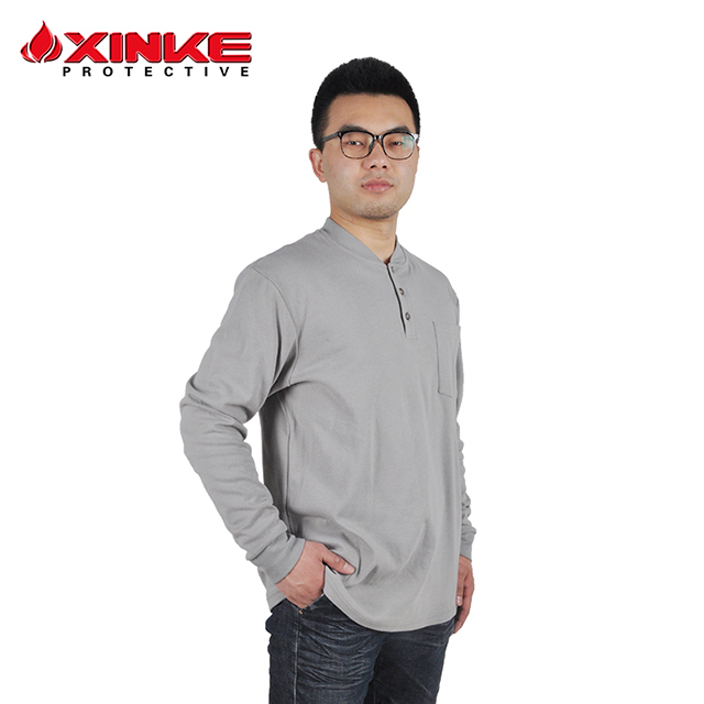 cotton fire retardant knit shirt for work man