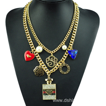 China for Chain Necklace Charm Multi Layer Chain Link Necklace Crystal Pendant Necklace export to Ireland Factory