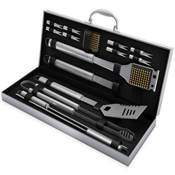 16 Piece Barbecue Grilling Accessories with Aluminum Case