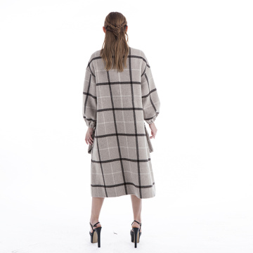 Fashion Plaid cashmere overcoat