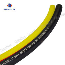 Yellow jackhammer wrapped rubber air hose