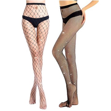 Women Fishnet Tights With Rhinestone 2P