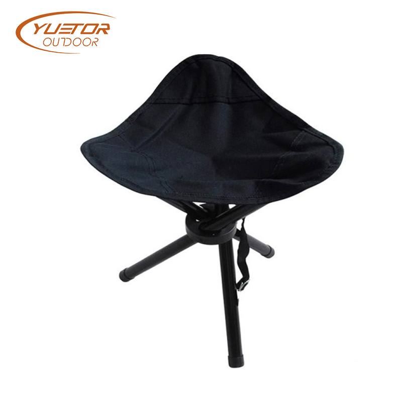 Black Heavy Duty Folding Tripod Camping Stool For 300 Lbs 1