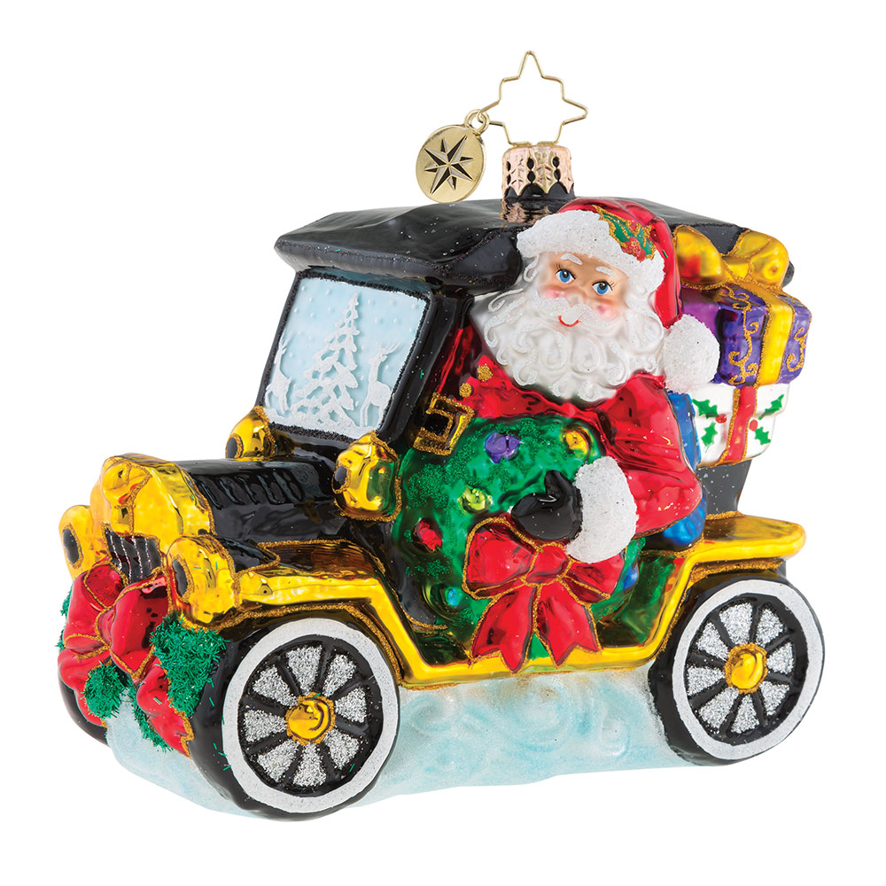 Customized Driving Santa Claus Shaped Christmas Glass Ornament