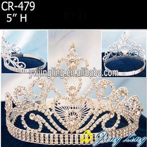 High Quality Fashion Gold Crystal Pageant Crowns