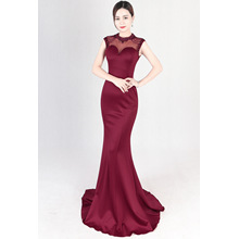 Company annual meeting runway evening dress, fashion fish, banquet, slim, moderator dress, women long