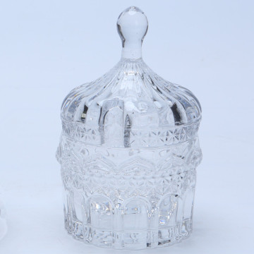 Crystal Embossed Glass Food /Candy Jar With Lid