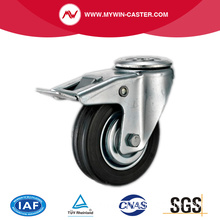 Braked Bolt Hole Swivel Medium Duty Rubber Caster