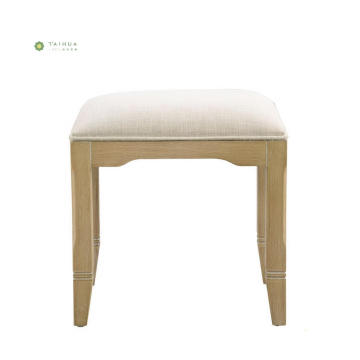 Full Solid Wood Dresser Stool With Fabric Cushion