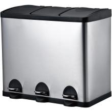 Three Stainless Steel Pedal trash bin
