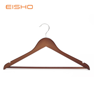 EISHO Walnut Flat Wood Suit Hangers With Bar