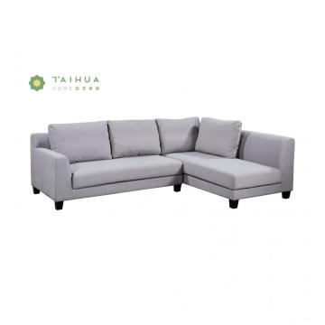 Grey Fabric Corner Sofa with Solid Wood Legs