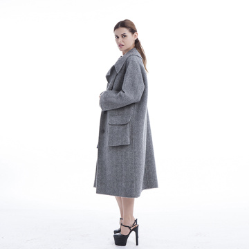 A long cashmere overcoat with large pockets