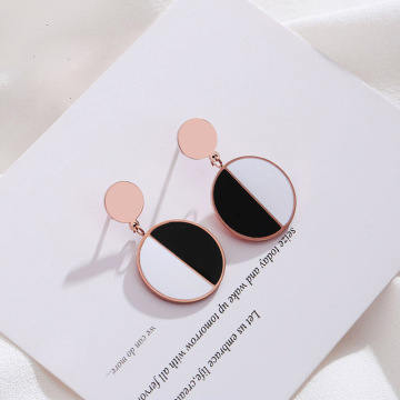 Black white enamel stainless steel earrings studs