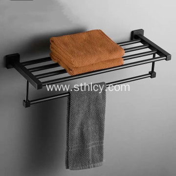 Black Stainless Steel Bathroom Towel Storage Rack