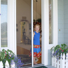 DIY sliding screen door curtain