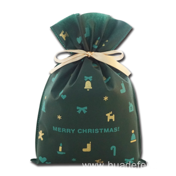 English Words Green Non-woven Christmas Wrapping Bag