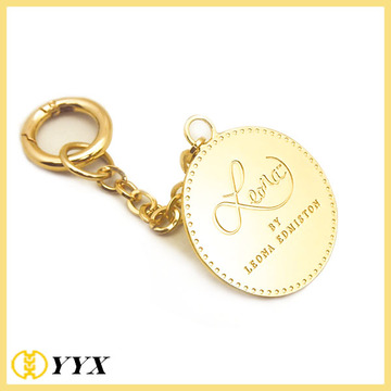 Gold Polished Metal Logo Round Tag For Handbag
