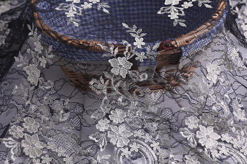 3D Embroidery On Lace Ground