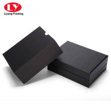 Black cardboard gift belt box with sleeve