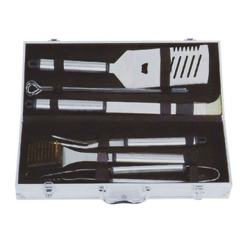 9pcs stainless steel bbq set in aluminum box