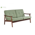 Banayad na Green Sofa 2 Seater Solid Wood Frame