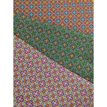 Geometric Design Polyester Bubble Crepe Printing Fabric