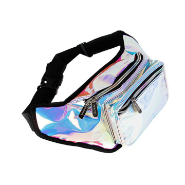Customized Fashion Holographic Transparent PU Fanny Pack  Unisex Glitter Waist Bag