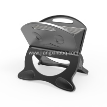 Black X-Shape Charcoal Grill With Smile Pattern