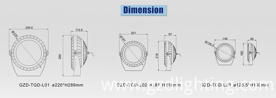 led flood light-L dimension