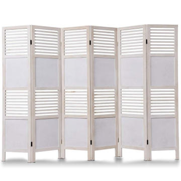 6 Panel white Wood Folding modern Privacy Screen Room Divider