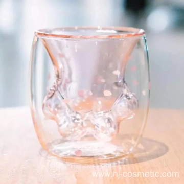 factory custom wholesales double glass cat cup