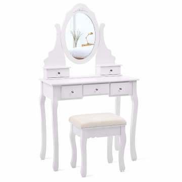 Cheap Dresser Vanity Set with Mirror and Stool Make-up Dressing Table 5 Drawers with 2 Dividers