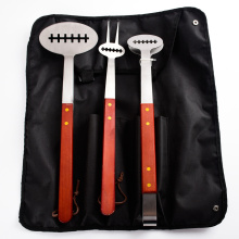 3PCs BBQ Football Design wooden handle tools set