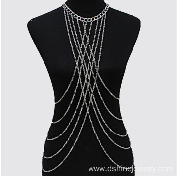 Vintage Cross Harness Body Chain Necklace Multi Strand Chain