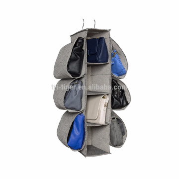 Hanging fabric handbag storage organizer with metal hanger