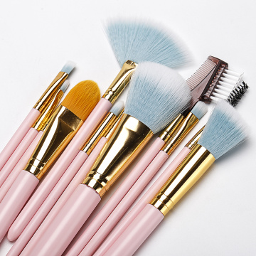 12 pieces pink makeup brush with plastic barrel