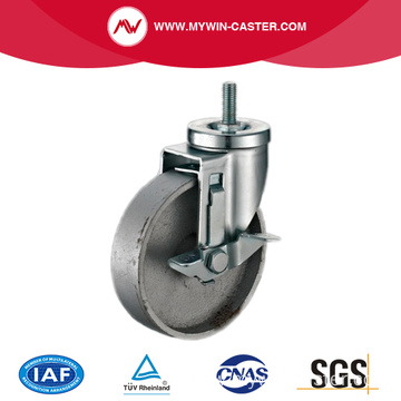 Side Braked Threaded Stem Swivel Cast Iron Castor
