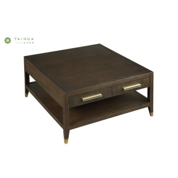 Dark Walnut Square Wood Doule Layer Coffee Table