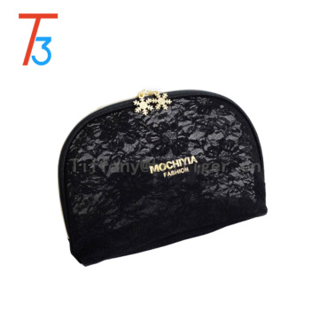 high quality gold zipper black lace shell makeup bag