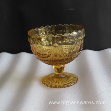 Amber Glass Ice Cream Bowls with Uique Pattern Design