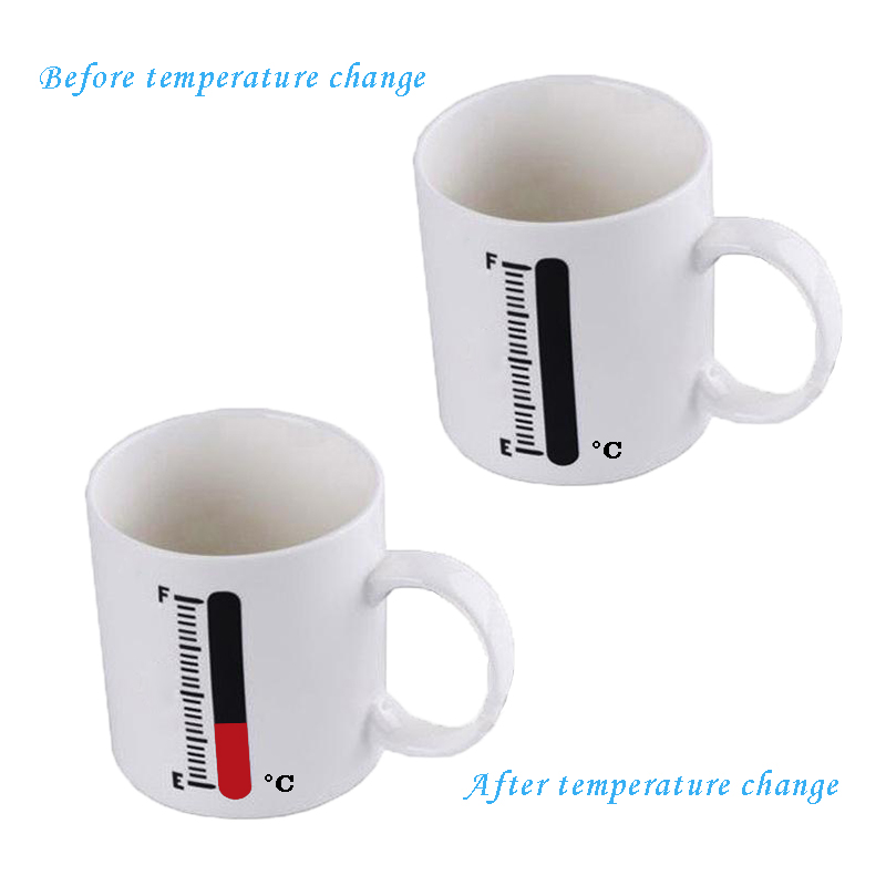Thermometer stickers attached to cups