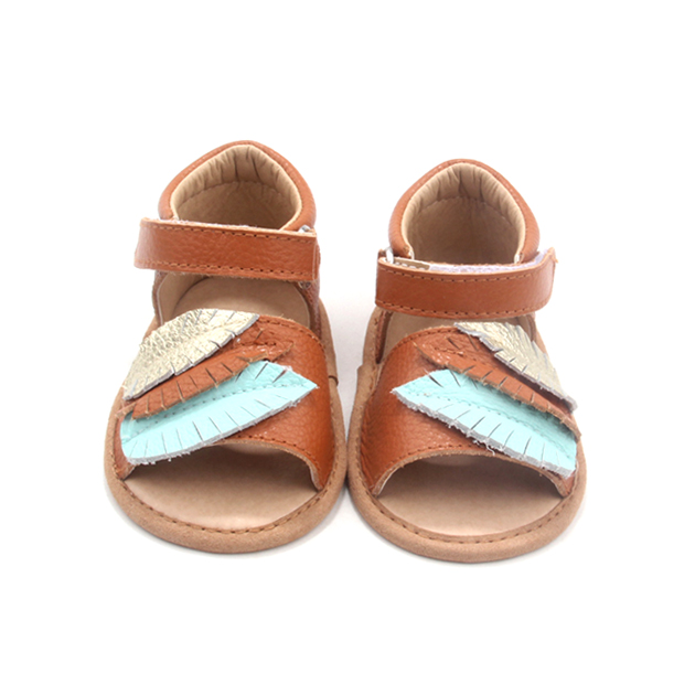 European Style Tricolor Leaves Brown Genuine Baby Sandals