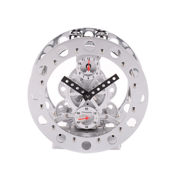 Metal bell ringing table clock