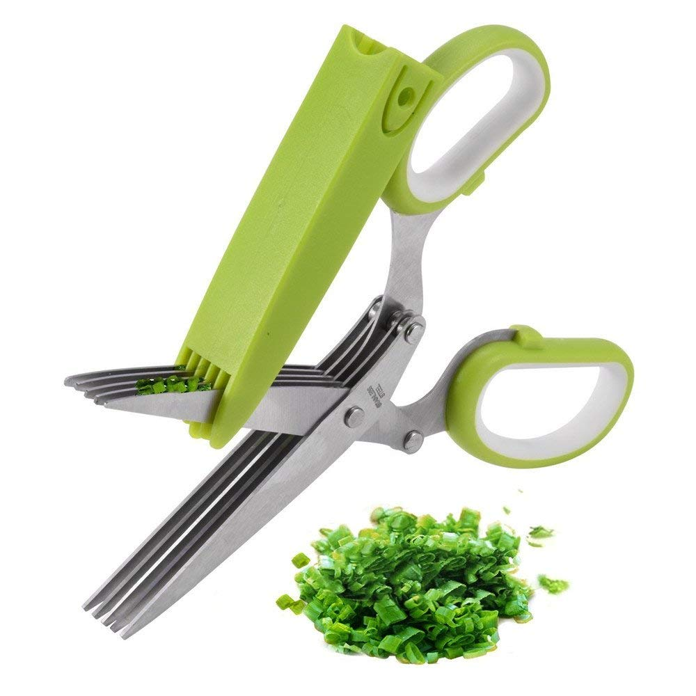 Herb Scissors Kitchen Cutting Shear with Safety Cover