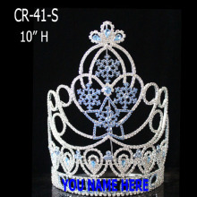China Cheap price for Gold Pageant Crowns Snowflake Ice Blue Crystal Christmas Crowns export to Guadeloupe Factory