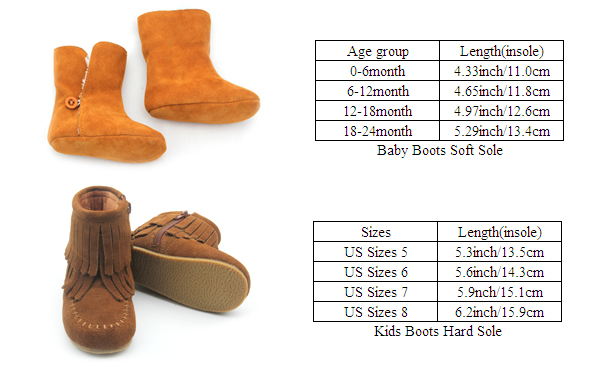 Baby Boots Sizes