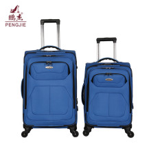 Popular blue customized logo brand new fabric luggage