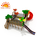 Red Leaf Combination Outdoor Playground Equipment For Sale