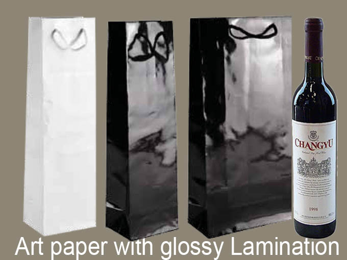 Printed Luxury Bottle Gift Packaging Wine Paper Bag